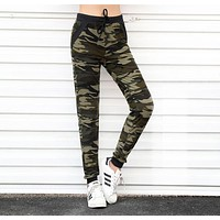 Camouflage Women Jogger Pants  High Waist With Pocket Drawstring