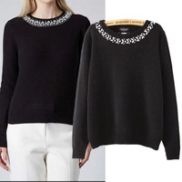 Diamond Neckline Long Sleeve Pullover Knitted Sweater