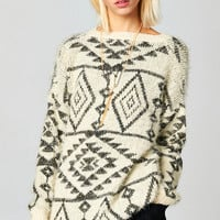 OVERSIZE TRIBAL KNIT FRINGE SWEATER