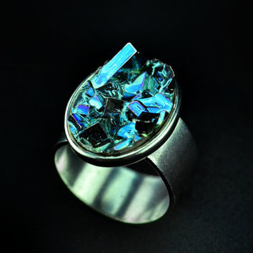 Crushed Ice, Iridescent Bismuth Metal Crystal on an Antique Silver Plated Adjustable Ring. Unique, Fractal, Artistic Jewelry