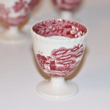 Set of 4 Copeland Spode England Pink Tower Gadrooned Edge 4pc Set Old Mark 1920's 4pc Early Stamp Egg cups Copeland Spode England Pink TOWER