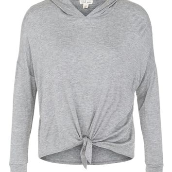 Tribal Lightweight Front Tie Hoodie Grey Mix