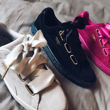 puma w suede satin heart sport casual shoes sneakers
