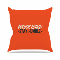 "Juan Paolo ""Work Hard Stay Humble"" Digital Vintage Outdoor Throw Pillow"