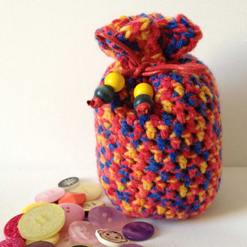 Large Cosmetic Bag, Red Dice Bag, Crochet Yarn Bag, Crochet Pouch, Make Up Bag, Red Yellow Blue Knitted Bag, Primary Colours, Primary Colors