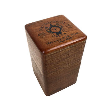 Vintage Nat Sherman Wooden Cigar Box, Dovetail Joints Lift Off Lid, Academy 2 Fifth Avenue New York