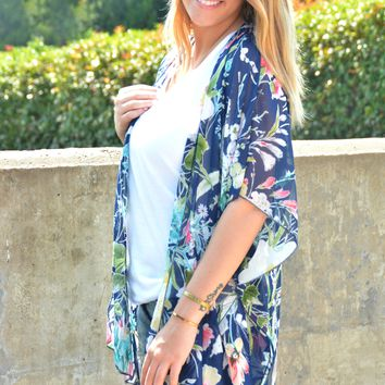 All About You Kimono - Navy