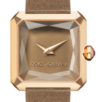 Beige women's gold watch with sapphire glass - Dolce & Gabbana