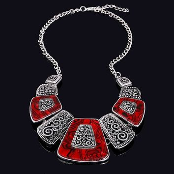 Bohemian Statement Choker Necklace Fashion Ethnic Style Collares Vintage Silver Plated Bead Statement Necklace For Women Jewelry