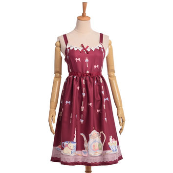 Girls Sweet Lolita JSK Suspender Dress Cute Tea Party Cup Rabbit Bunny Bows Print Sleeveless Lace Trim Dresses