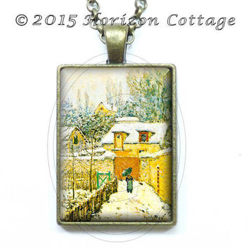 Alfred Sisley - Snow at Louveciennes - Old Masters' Classic Artwork - Key Ring, Pendant, or Set