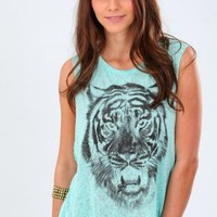 ROARIN TIGER TOP- TEAL
