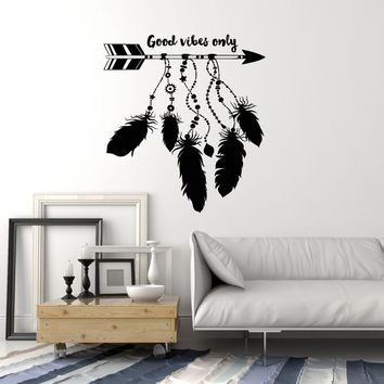 Vinyl Wall Decal Dreamcatcher Arrow Feathers Ethnic Art Good Vibes Stickers Mural Unique Gift (ig5081)