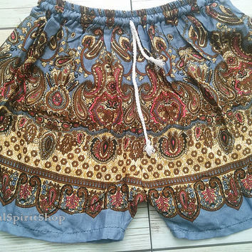 Blue Grey Boho Shorts Paisley Flora Retro Print Ikat Summer Beach Tribal Fashion Clothing Aztec Ethnic Hobo Cloth Cute Wear with Tank top