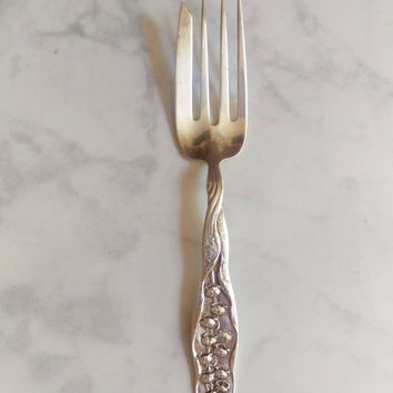 Antique Whiting Sterling 1885 Lily of the Valley Serving Meat Fork/ Lily of the Valley Silver/ Whiting Silver/ Sterling Silver Serving Piece