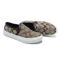 Coach Old Skool Trending Women Stylish Casual Logo Pattern Canvas Flats Sneakers Sport Shoes Coffee I12596-1