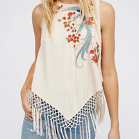 Beige Embroidery Floral Fringe Hem Sleeveless Top