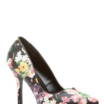Floral Print Faux Leather Plunging Pumps