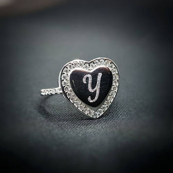 Personalized Heart Ring - Custom Heart Ring- Engraved Ring - Silver Letter Ring - Personalized Ring - Personalize Jewelry - Personalize Gift