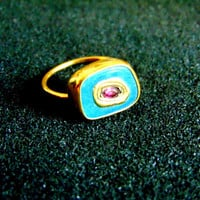 Stunning 18k gold, peruvian opal and pink tourmaline ring-Women's gold gemstone rings-Opal gold 750 ring-Artisan jewelry-Greek art