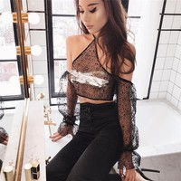 Vest Spaghetti Strap Bra Hot Sale Winter Women's Fashion See Through Lace Loudspeaker [106006806543]