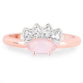LoveHuang 0.87 Carats Genuine Rose Quartz and White Topaz Ring Solid .925 Sterling Silver With 18KT Rose Gold Plating