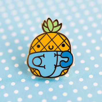 Baby pineapple enamel pin – cute enamel pin, pineapple accessories, pineapple pin