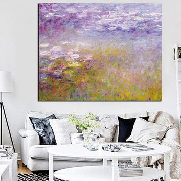 HD Print Claude Monet Lotus Landscape Oil Painting on Canvas Art Impressionist Wall Picture Canvas Poster for Sofa Living Room