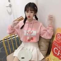 Japanese Women's Sweatshirt 2018 Autumn Kawaii Milk Strawberry Pullovers Pink Cute Graphic Mori Girl Clothing Hooded Hoodies