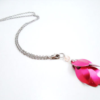 Breast Cancer Awareness Dragon Scale Cluster Necklace