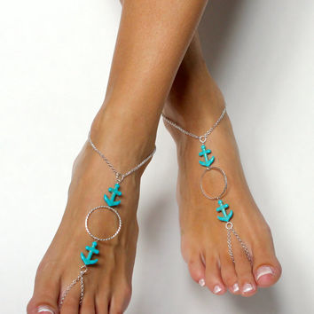 Aqua Anchor and Silver Chain Barefoot Sandals Wedding Sandals Foot Jewelry Nautical Jewelry