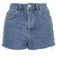TALL Blue Denim Mom Shorts - Mid Stone