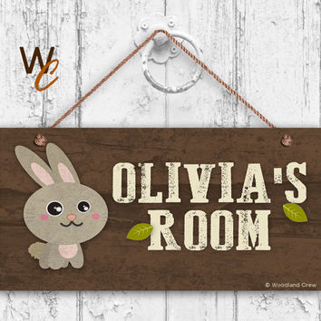 "Rabbit Sign, Woodland Personalized Sign,Kid's Name, Kids Door Sign, Baby Nursery Wall Decor, Weatherproof, 5"" x 10"" Sign, Made To Order"