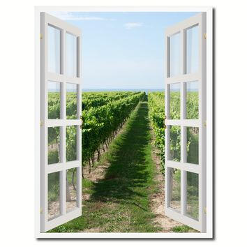 Wine Vineyard Ontario Canada Picture French Window Canvas Print with Frame Gifts Home Decor Wall Art Collection