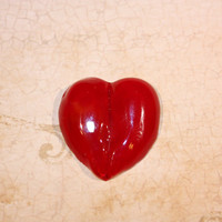 Red Heart Lampwork Cabochon