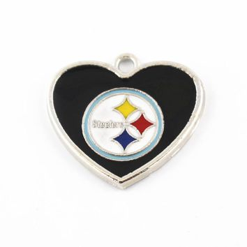 20pcs/lot Enamel USA Football Team Pittsburgh Steelers Heart Pendant Dangle Charms For Bracelet&Bangle Floating Charms Jewelry