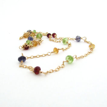 Multi gemstone necklace, multicolored necklace, lime green peridot, dark red garnet, blue iolite, golden citrine, wire wrapped, gold filled