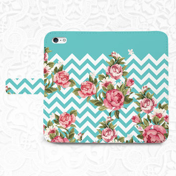 Chevron floral iPhone/smartphone flip leather Wallet case for iPhone 6, 6 plus, 5, 5s, 5c, iPhone 4, 4s- Samsung GalaxyS5 S4 S3, Note 3, 4