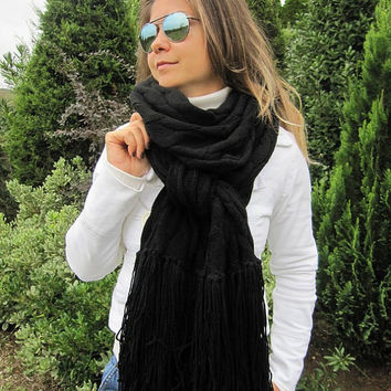 Scarf Woman Fashion, Cable Knit Solid Black Shawl, Blanket scarf, Long, Oversize Knit Fabric Wrap Shawl, Women's, Men's Scarves, Scarf Angel