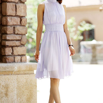 Mini purple dress chiffon dress cute wedding dress (997)