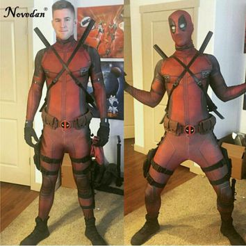 High Quality Marvel Halloween Cosplay Deadpool Costume Adult Men Marvel Legends Mask Costume Suit Child Kids Deadpool Cosplay