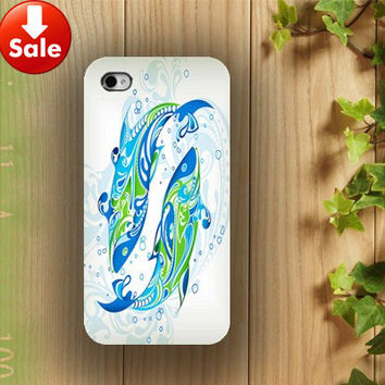 on sale!!! iphone case, i phone 4 4s 5 case, iphone4 iphone4s iphone5 case,stylish plastic rubber silicone cases cover blue Dolphins dancing