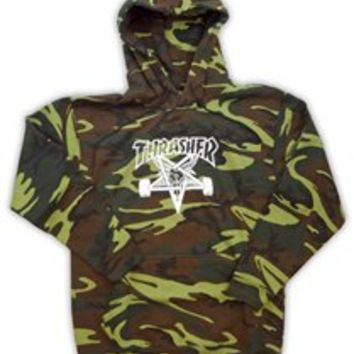 Thrasher Sk8 Goat Camo Logo Hooded sweatshirt Thrasher Skate Mag Logo Hooded sweatshirt Hoodie Pullover New International Shipping Welcomed Skateboard Magazine Skate