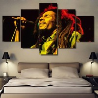 No Frame Bob Marley Live on Painting  on Canvas  Print    5 Panels Wall Art   Picture