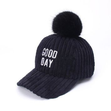 Trendy Winter Jacket New Parent-child Embroidery Hairball Corduroy Winter Warm Baseball cap Adjustable Fashion Leisure Casual Snapback HAT AT_92_12