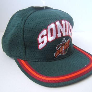 Seattle Super Sonics Defunct NBA Hat Vintage Green Snapback Baseball Cap w/ Tag