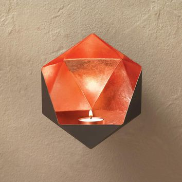 Copper Geometric Wall Candle Sconce