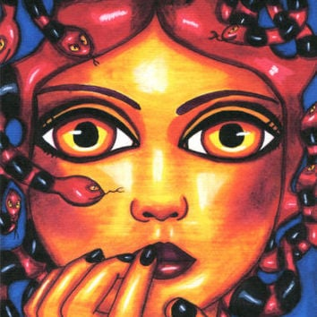 MEDUSA big eye monster girl original ART print red snake hair goth Elizavella