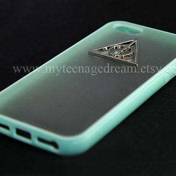 Harry Potter Deathly Hallows Iphone 5 Case, iPhone Case 5 mint green side clear case