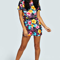 Hanna Capped Sleeve Printed Belted Playsuit